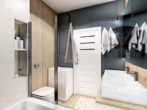 MIESZKANIE WOLA - Średnia czarna łazienka w bloku w domu jednorodzinnym bez okna, styl minimalistyczny - zdjęcie od INVENTIVE studio