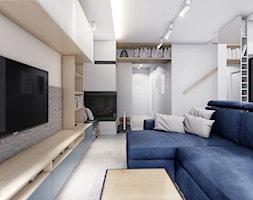 KOBYŁKA - Średni biały salon z bibiloteczką z kuchnią, styl nowoczesny - zdjęcie od INVENTIVE studio