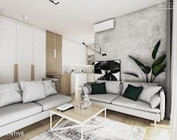 Żoli Żoli - Mały szary salon z kuchnią z jadalnią, styl minimalistyczny - zdjęcie od INVENTIVE studio