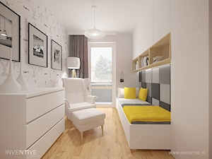 MIESZKANIE DWUPOZIOMOWE z miętowym akcentem - Mała biała szara sypialnia, styl nowoczesny - zdjęcie od INVENTIVE studio