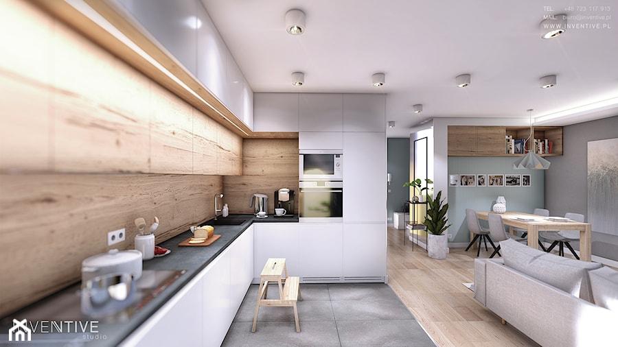 MIESZKANIE URSUS - Średnia biała beżowa kuchnia w kształcie litery l w aneksie, styl nowoczesny - zdjęcie od INVENTIVE studio