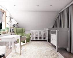 DOM CELESTYNÓW - Duży biały szary pokój dziecka dla chłopca dla dziewczynki dla niemowlaka, styl tradycyjny - zdjęcie od INVENTIVE studio