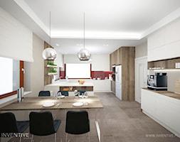ART DECO - Duża zamknięta szara czerwona kuchnia w kształcie litery g z oknem, styl art deco - zdjęcie od INVENTIVE studio