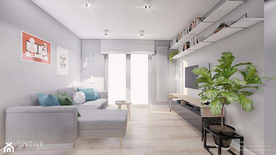 MIESZKANIE KRAKÓW - Średni szary salon z bibiloteczką z tarasem / balkonem, styl minimalistyczny - zdjęcie od INVENTIVE studio