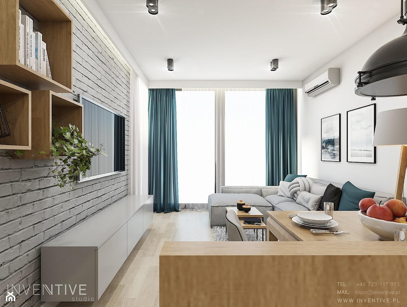 WARSZAWA ŻOLIBORZ - Średni biały salon z bibiloteczką z kuchnią z jadalnią z tarasem / balkonem, styl nowoczesny - zdjęcie od INVENTIVE studio - Homebook