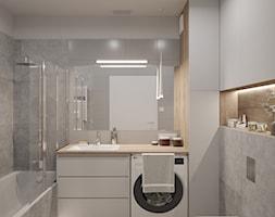 MARKI - Średnia biała szara łazienka bez okna, styl minimalistyczny - zdjęcie od INVENTIVE studio