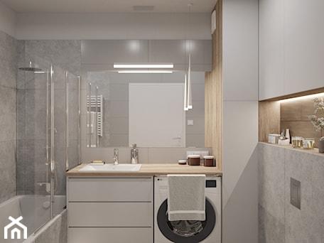 Aranżacje wnętrz - Łazienka: MARKI - Średnia biała szara łazienka bez okna, styl minimalistyczny - INVENTIVE studio. Przeglądaj, dodawaj i zapisuj najlepsze zdjęcia, pomysły i inspiracje designerskie. W bazie mamy już prawie milion fotografii!