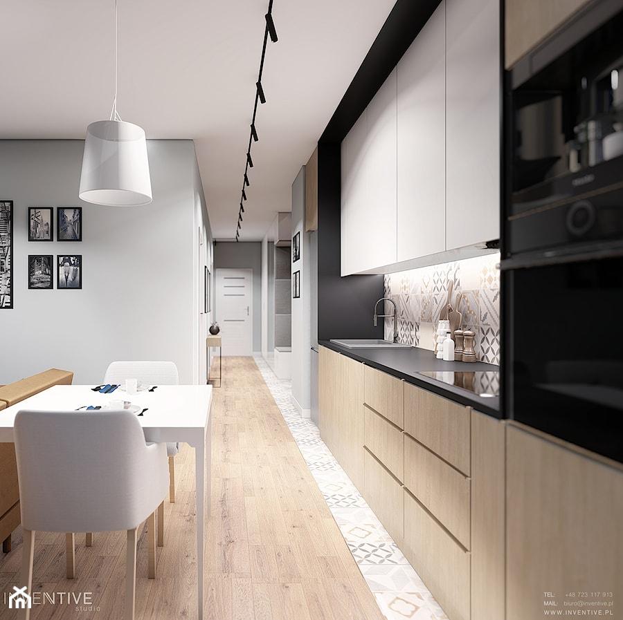 MIESZKANIE WOLA - Średnia otwarta szara czarna kuchnia jednorzędowa w aneksie, styl skandynawski - zdjęcie od INVENTIVE studio