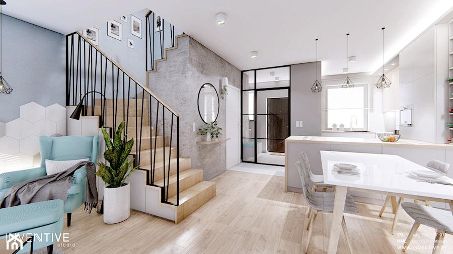 DOM BIAŁOŁĘKA - Średni szary salon z kuchnią z jadalnią, styl nowoczesny - zdjęcie od INVENTIVE studio