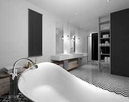 LOFTOWO INDUSTRIALNIE - Duża biała czarna łazienka na poddaszu w bloku w domu jednorodzinnym bez okna, styl industrialny - zdjęcie od INVENTIVE studio