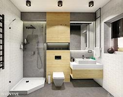 ŁAZIENKA CHOJNÓW - Średnia łazienka w bloku w domu jednorodzinnym z oknem, styl nowoczesny - zdjęcie od INVENTIVE studio