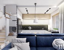 KOBYŁKA - Biały salon z kuchnią, styl nowoczesny - zdjęcie od INVENTIVE studio