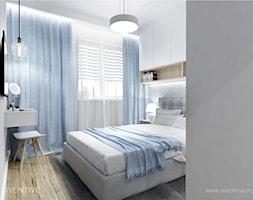 NIEBIESKA SZAROŚĆ - Mała szara sypialnia małżeńska, styl nowoczesny - zdjęcie od INVENTIVE studio