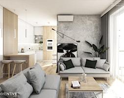 Żoli Żoli - Średni biały salon z kuchnią z jadalnią z tarasem / balkonem, styl minimalistyczny - zdjęcie od INVENTIVE studio