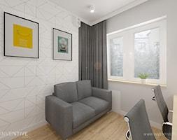 MIESZKANIE DWUPOZIOMOWE z miętowym akcentem - Średnie szare biuro domowe kącik do pracy w pokoju, styl nowoczesny - zdjęcie od INVENTIVE studio