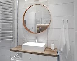 PATCHWORKOWY AKCENT - Mała biała łazienka na poddaszu w bloku w domu jednorodzinnym bez okna, styl rustykalny - zdjęcie od INVENTIVE studio