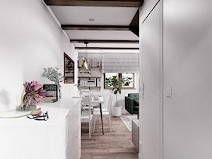 DOM CELESTYNÓW - Średni biały beżowy salon z jadalnią, styl tradycyjny - zdjęcie od INVENTIVE studio