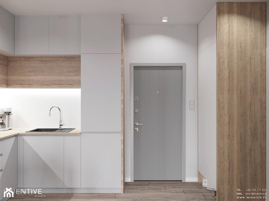 MARKI - Mała zamknięta biała kuchnia w kształcie litery l, styl minimalistyczny - zdjęcie od INVENTIVE studio