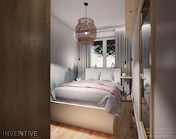 Ursynów - Mała szara sypialnia małżeńska, styl nowoczesny - zdjęcie od INVENTIVE studio