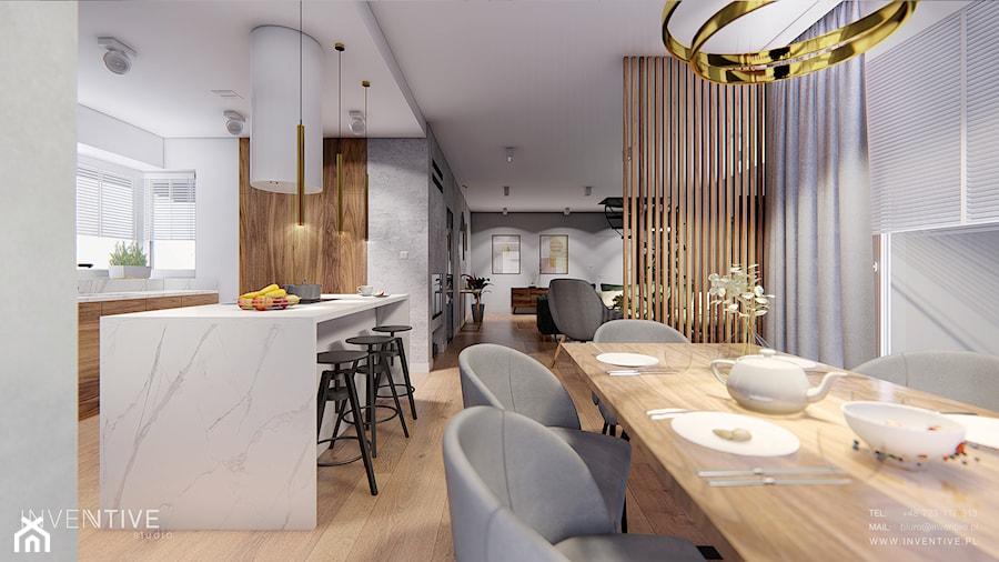 MAKÓW MAZOWIECKI - Średnia otwarta biała jadalnia w kuchni, styl nowoczesny - zdjęcie od INVENTIVE studio