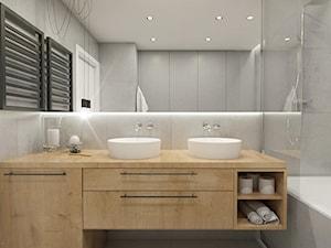 WARSZAWA ŻOLIBORZ - Średnia szara łazienka w bloku w domu jednorodzinnym bez okna, styl nowoczesny - zdjęcie od INVENTIVE studio
