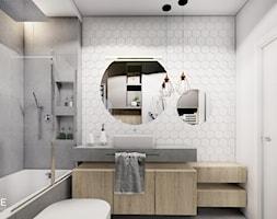 MIESZKANIE REMBERTÓW - Średnia biała łazienka w bloku w domu jednorodzinnym bez okna, styl minimalistyczny - zdjęcie od INVENTIVE studio