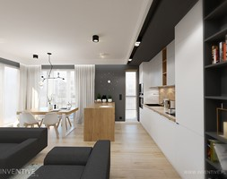 MYSŁOWICE - Duża otwarta czarna kuchnia dwurzędowa w aneksie z oknem, styl nowoczesny - zdjęcie od INVENTIVE studio