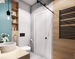 Warszawa Wilanów - Średnia biała szara miętowa łazienka bez okna, styl nowoczesny - zdjęcie od INVENTIVE studio