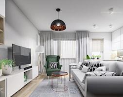 MIESZKANIE REMBERTÓW - Średni szary biały salon z kuchnią, styl minimalistyczny - zdjęcie od INVENTIVE studio