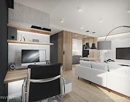 HARMONIJNIE - Średni biały salon z kuchnią z jadalnią, styl nowoczesny - zdjęcie od INVENTIVE studio