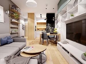 Warszawa Targówek - Średni szary biały salon z kuchnią z jadalnią, styl nowoczesny - zdjęcie od INVENTIVE studio