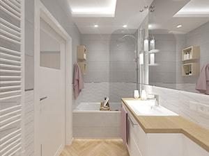 Mieszkanie z różowym akcentem. - Średnia łazienka w bloku w domu jednorodzinnym bez okna, styl glamour - zdjęcie od INVENTIVE studio