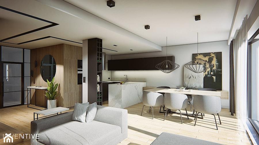 DOM W PŁOCKU - Duża otwarta szara jadalnia w kuchni w salonie, styl nowoczesny - zdjęcie od INVENTIVE studio