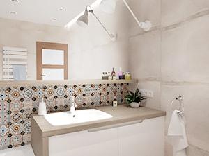 BEŻOWA ŁAZIENKA - Średnia łazienka w bloku w domu jednorodzinnym bez okna, styl rustykalny - zdjęcie od INVENTIVE studio