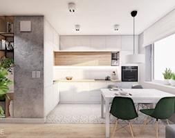 MIESZKANIE KRAKÓW - Średnia szara kuchnia w kształcie litery l w aneksie z oknem, styl minimalistyczny - zdjęcie od INVENTIVE studio