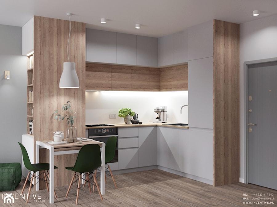 MARKI - Mała otwarta szara kuchnia w kształcie litery l w aneksie, styl minimalistyczny - zdjęcie od INVENTIVE studio