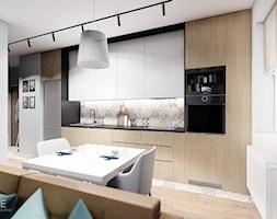 MIESZKANIE WOLA - Średnia biała kuchnia jednorzędowa w aneksie z oknem, styl skandynawski - zdjęcie od INVENTIVE studio