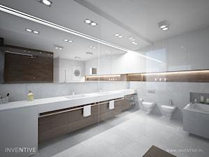 DREWNIANY AKECENT - Duża łazienka w domu jednorodzinnym jako salon kąpielowy bez okna, styl minimalistyczny - zdjęcie od INVENTIVE studio
