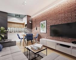 WARSZAWA URSYNÓW - Mały szary brązowy salon z kuchnią z jadalnią, styl nowoczesny - zdjęcie od INVENTIVE studio
