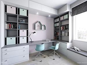 MIESZKANIE 70m2 w Łodzi - Mały biały szary różowy pokój dziecka dla chłopca dla dziewczynki dla ucznia dla nastolatka, styl minimalistyczny - zdjęcie od INVENTIVE studio