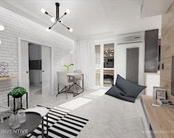 INDUSTRIALNIE - Średni biały salon z tarasem / balkonem, styl industrialny - zdjęcie od INVENTIVE studio