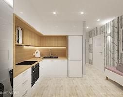 Mieszkanie z różowym akcentem. - Średnia otwarta kolorowa kuchnia w kształcie litery l, styl skandynawski - zdjęcie od INVENTIVE studio