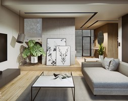 DOM W PŁOCKU - Średni beżowy salon z barkiem z kuchnią, styl nowoczesny - zdjęcie od INVENTIVE studio