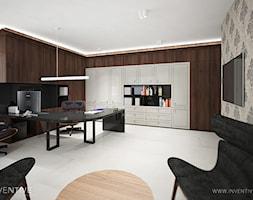 ART DECO - Duże szare biuro domowe kącik do pracy w pokoju, styl art deco - zdjęcie od INVENTIVE studio