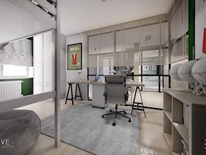 MIESZKANIE URSUS - dwa poziomy - Średni biały zielony pokój dziecka dla chłopca dla ucznia dla nastolatka, styl nowoczesny - zdjęcie od INVENTIVE studio