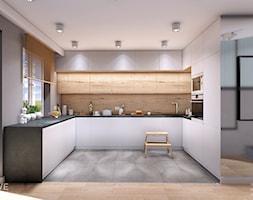MIESZKANIE URSUS - Duża otwarta beżowa szara kuchnia w kształcie litery u z oknem, styl nowoczesny - zdjęcie od INVENTIVE studio