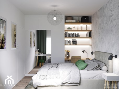 Aranżacje wnętrz - Sypialnia: MARKI - Średnia biała szara sypialnia małżeńska, styl minimalistyczny - INVENTIVE studio. Przeglądaj, dodawaj i zapisuj najlepsze zdjęcia, pomysły i inspiracje designerskie. W bazie mamy już prawie milion fotografii!