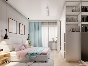 DOM BIAŁOŁĘKA - Średnia szara sypialnia małżeńska z balkonem / tarasem, styl nowoczesny - zdjęcie od INVENTIVE studio