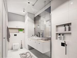 MIESZKANIE URSUS - dwa poziomy - Średnia szara łazienka w bloku w domu jednorodzinnym bez okna, styl tradycyjny - zdjęcie od INVENTIVE studio