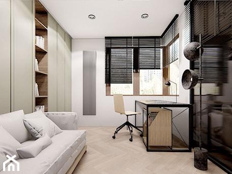 Aranżacje wnętrz - Biuro: APARTAMENT Z ZAOKRĄGLONYMI NAROŻNIKAMI - Średnie białe biuro domowe kącik do pracy w pokoju, styl minimalistyczny - INVENTIVE studio. Przeglądaj, dodawaj i zapisuj najlepsze zdjęcia, pomysły i inspiracje designerskie. W bazie mamy już prawie milion fotografii!